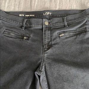 Loft Super Skinny Straight Leg Black  Jeans
